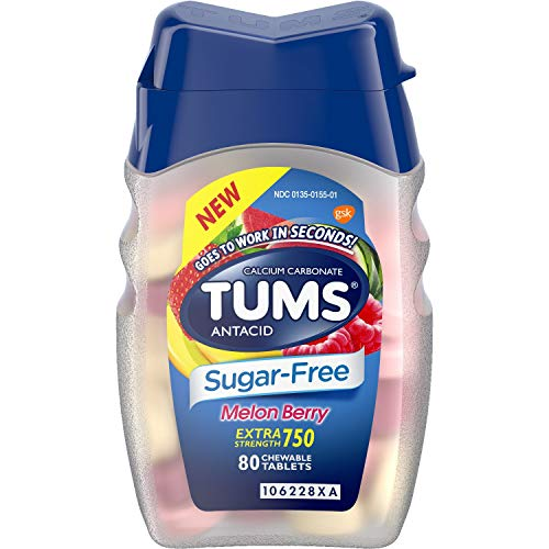 Tums Antacid - Sugar Free - Melon Berry - Extra Strength 750-80 Count Chewable Tablets Per Bottle - Pack of 3 Bottles
