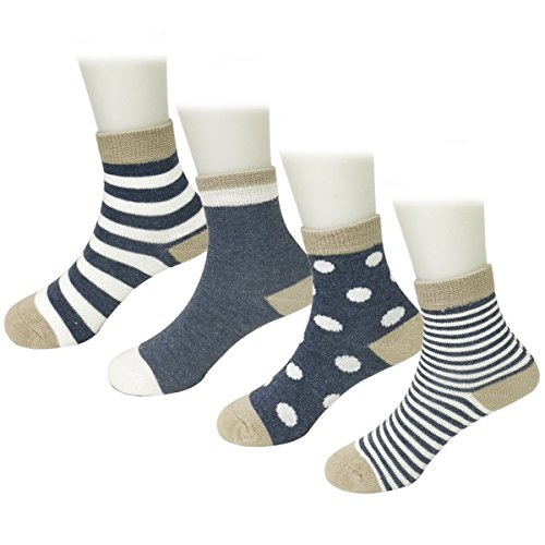 Striped Babylegs - Bowbear 4 Pair Baby Dots and Stripes Socks, Blue
