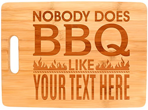 Personalized Grill Gifts Nobody Does BBQ Like Custom Text Chef Gift Personalized Fathers Day Gifts BBQ Accessories Big Rectangle Bamboo Personalized Cutting Board
