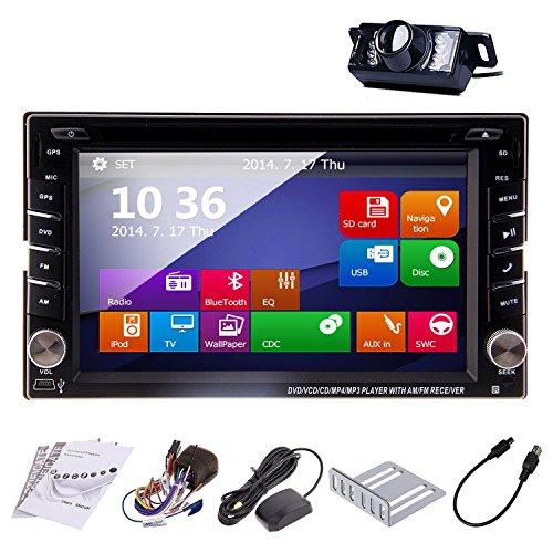 in-Dash 2 DIN Car Autoradio Stereo Headunit CD DVD Player 6.2-Inch Touch Screen Bluetooth GPS Navigation System Auto Radio FM AM MP3 Free Backup Camera