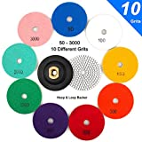 CenterZ 4'' Wet Diamond Polishing Pad, 10 Pads 50 to 3000 Grit Set with 5/8'' 11 Arbor Polisher Velcro Backing Plate - Ideal Buffing Kit for Granite Concrete Marble Stone Countertop Tile Floor Grinder