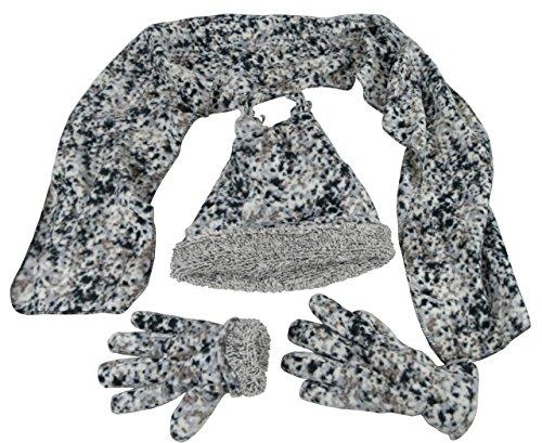 N'Ice Caps Boys Sherpa Lined Micro Fleece 4 Tassle Hat/Scarf/Glove 3PC Set (7-10yrs, Black/Grey Camo)