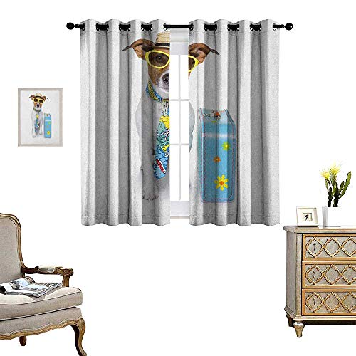 Warm Family Dog Room Darkening Wide Curtains Traveler Funny Dog Dressed as a Tourist with Hat Glasses Necktie and a Floral Suitcase Decor Curtains by W72 x L72 Multicolor
