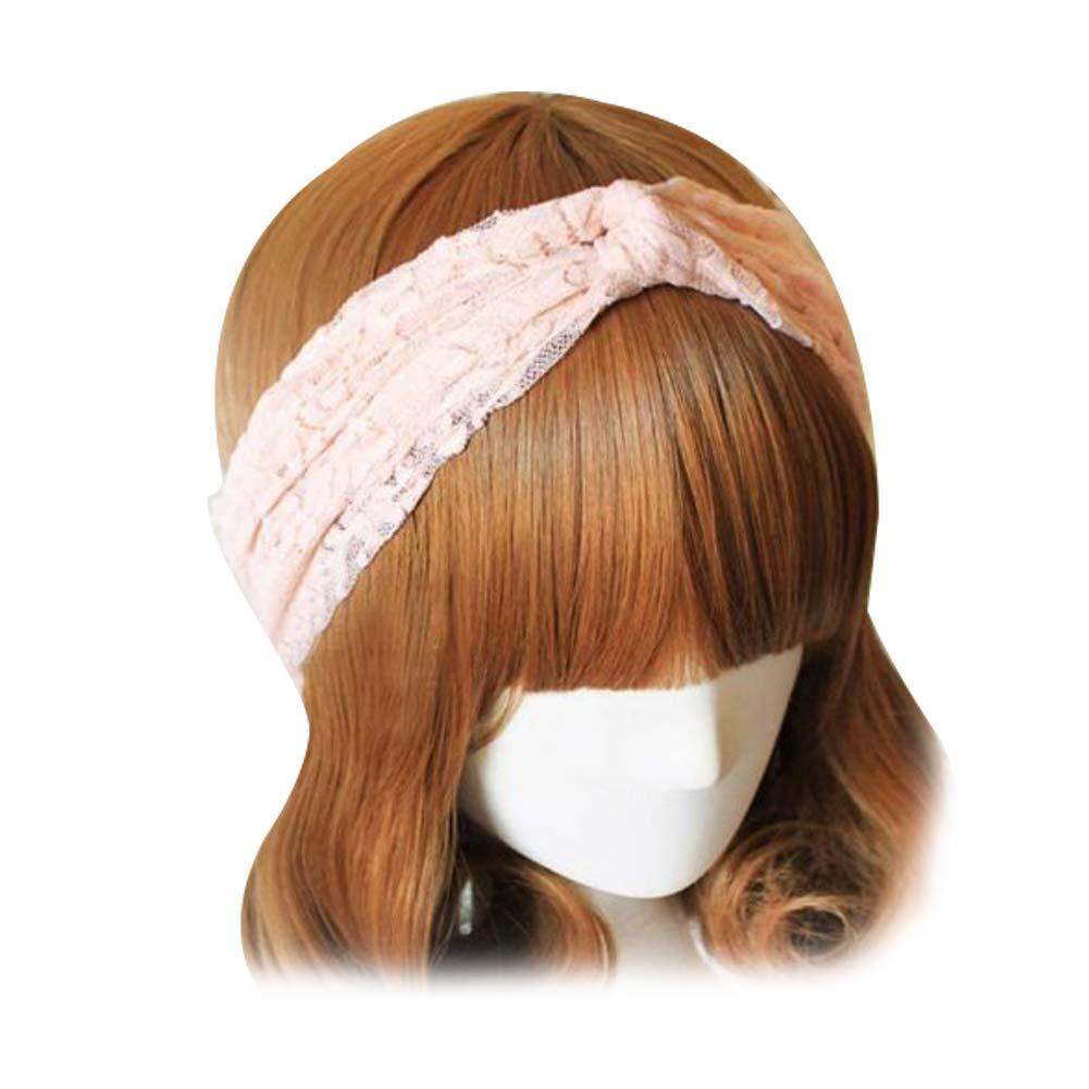 Newin Star Femmes Dentelle rétro Turban Twist tête Wrap Bandeau Twisted noueuse Doux Foulard Bande de Cheveux (Rose)