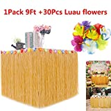 BAKHUK 1Pack 9ft Hawaiian Table Hula Grass Skirt with Little Flowers and 30Pcs Hibiscus Flowers for Tabletop Decoration, Party Decoration, Birthdays, Celebration