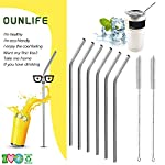 Stainless Steel Drinking Straws,Set Of 6 Reusable OUNLIFE Bent Stainless Steel Straws With 2 Free Cleaning Brush Fit 20 oz Yeti Tumbler Rambler Cups,Eco-Friendly BPA Free