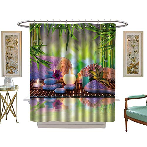 luvoluxhome Shower Curtain Customized White Stones Salts and red Candle in The Garden with Bamboo W48 x L84 Patterned Shower Curtain ()