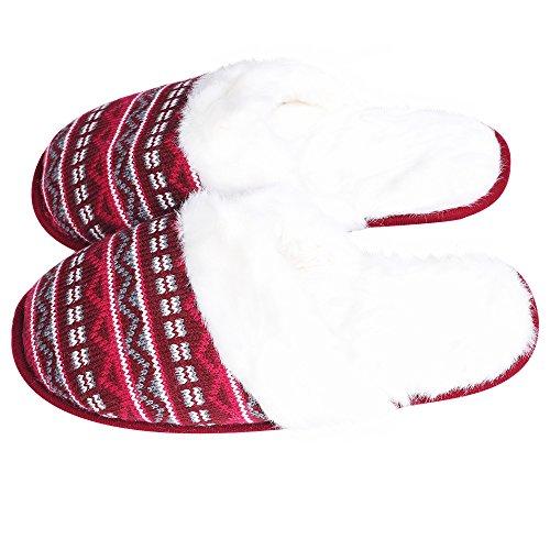 Iisutas Damesslippers Met Comfort Memory Foam, Huisschoenen Voor Dames, Wolachtige Pluche Fleece Gevoerde Pantoffels, Indoor, Outdoor Anti-slip Zool Multicolor