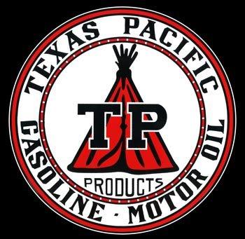 Texas Pacific TP Gasoline Porcelain Sign