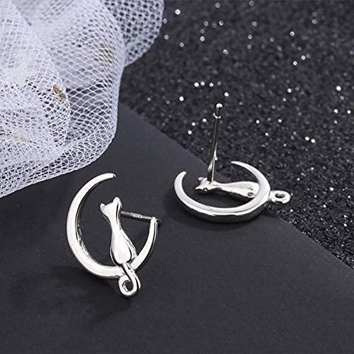 AZOKKA-925 Siliver Cat Earrings Earrings Sterling Silver Stud Earrings for Women Gift ,Moon Earrings Cat Lovers
