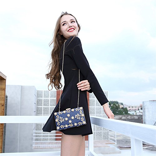 Rhinestone Color Lovely Blue Yellow Bag Evening Hand Clutch Shoulder Crossbody Bag Rabbit Bag Chain Women's Strap Elegant 6rFwtxrq