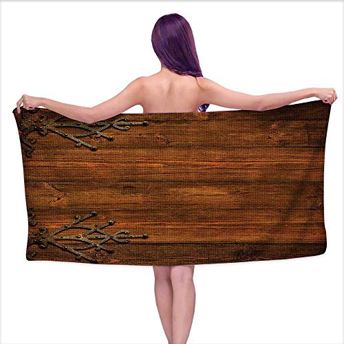 Beach Towel Towels, Backdrop with Carved Dated Gothic Metal Ornaments Retro Shied,Sports, Travels, Quick Drying and Super Absorbent Technology W 27.5