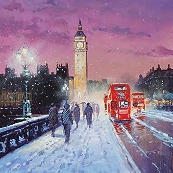 Pack 5 Christmas Cards Westminster Bridge Big Ben Scenic Gloss Finish