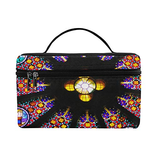 (Cosmetic Train Cases Roomy Cosmetic Bags Unusual Colorful Rose Window Large Capacity Bag Cosmetic Picnic Toiletry Storage Bag Outdoor For Adult Tote)