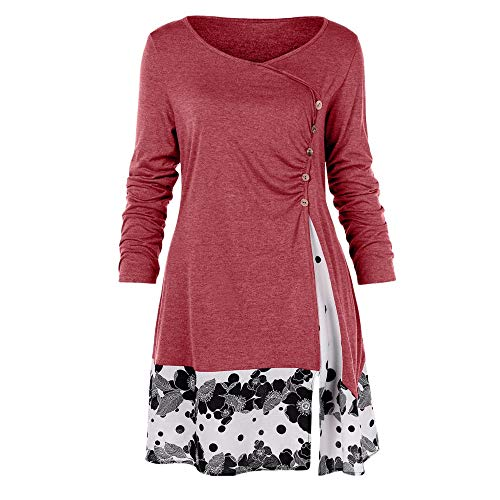 61c9e87865cc1 vermers Womens Fashion Plus Size Tunic Tops Casual Button Draped Floral  Splicing Long T Shirt Blouse