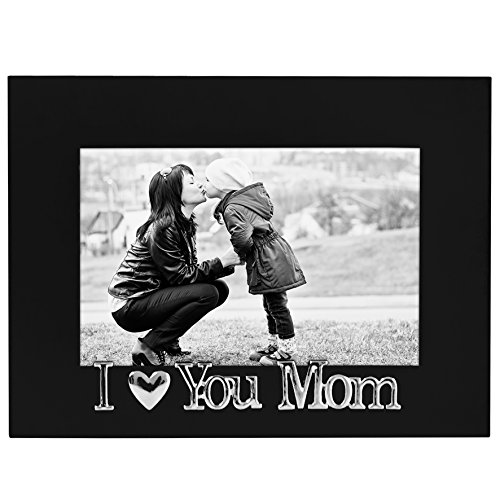 I Love You Mom Picture Frame, Glass Front - Color: Black - Fits Photos 4x6 - Easel Back for Table Top Display