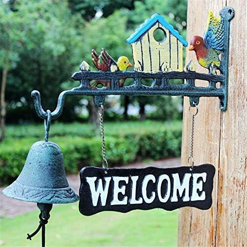 鋳鉄製のドアベル 素朴なレトロバーディーアイアンキャストアイアンドアベルハンドベルの庭の装飾無料サイズ ガーデン&ホーム&ストア&アウトドアデコレーション (Color : Multi-colored, Size : Free size)