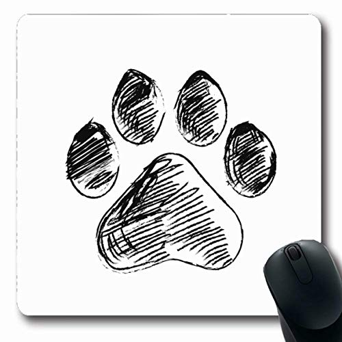 Ahawoso Mousepads for Computers Buddy Dog Doodle Footprint Wildlife Paw Sketch Cat Pet Friendly Abstract Design Tattoo Oblong Shape 7.9 x 9.5 Inches Non-Slip Oblong Gaming Mouse Pad]()