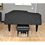 Yamaha C1 Piano Cover - Quilted Black Nylon with Side Splits