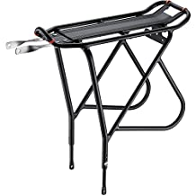 Ibera PakRak Bicycle Touring Carrier Plus, Frame-Mounted for Heavier Top and Side Loads, Height Adjustable, Fender Board, Black