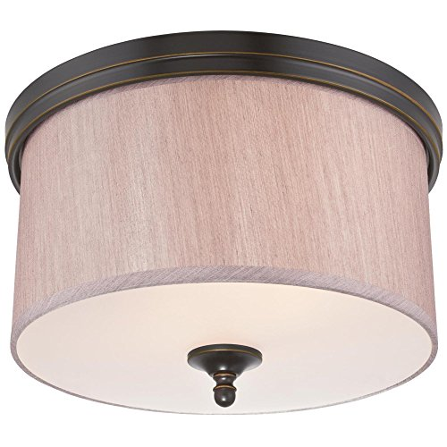 Westinghouse Lighting 6341600 Packard Two-Light Indoor Flush Ceiling Fixture, Amber Bronze Finish with Beige Fabric Shade and Frosted Glass Panel