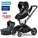 Baby Stroller 2018 - Hot Mom Travel System Baby Carriage with Bassinet Combo - Black