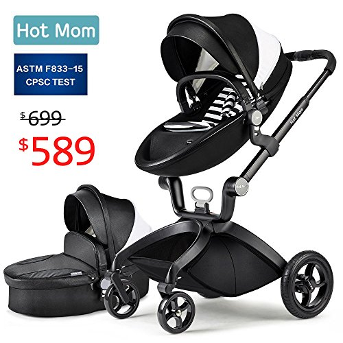 Baby Stroller 2018, Hot Mom Travel System Baby Carriage with Bassinet Combo,Black