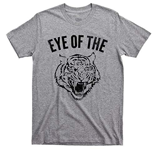 (Eye of The Tiger T Shirt Fighter Boxing Survivor Rising Up 80s Rock Music Tee (XL, Sport Gray))