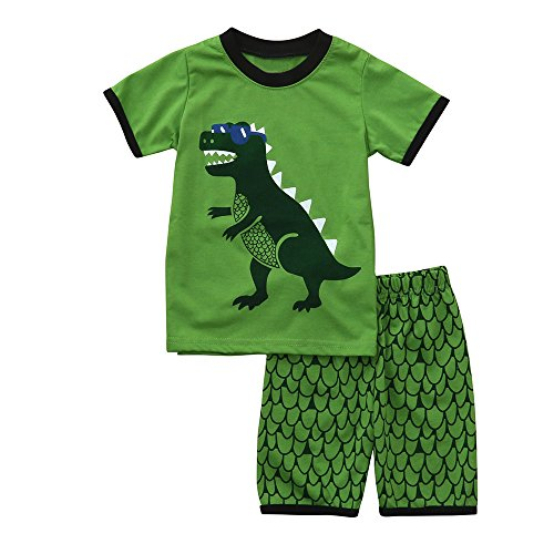 Euone Dinosaur Printed Tops Squama Shorts Pants for 0-6 Years Old Boys Pajamas (5-6 Years Old, Green)