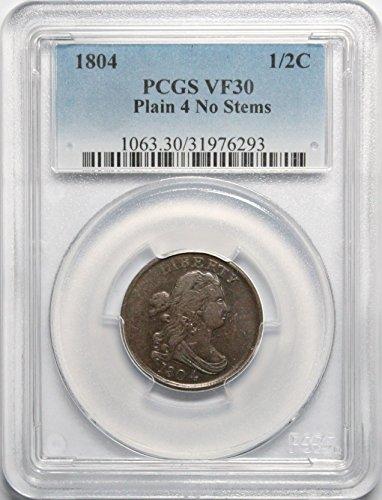 1804 P Draped Bust Half Cent 1/2 C VF30 Plain 4 No Stems PCGS