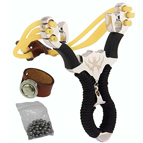 Outdoor Hunting Trumark Catapult Slingshots Game Toy heavy duty +2PCS Rubber Bands Replacement Animals Heavy Pull+50PCS 7mm Ball Ammo (Ride Machete)
