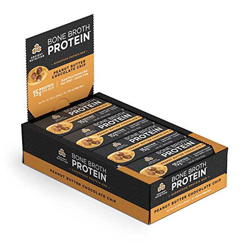 Ancient Nutrition Bone Broth Protein Bars, Peanut Butter Chocolate Chip – Gluten Free, Naturally Flavored with 15g Protein, 13g Performance Fats, 9g Fiber, 12g Net Carbs, 230 Calories, 12 Count Pack