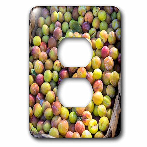 3dRose Danita Delimont - Food - Fresh golden plums for sale, Andria, Italy, Europe - Light Switch Covers - 2 plug outlet cover (lsp_277614_6)
