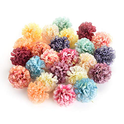 Flower heads in bulk wholesale for Crafts Artificial Silk Pompom Carnation Peony Fake Flowers Head Hydrangea Wedding Home Decoration DIY Scrapbooking Party Birthday Decor 30pcs 4.5cm (Colorful) -