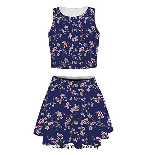Navy and Blush 2 Piece Skirt Set Women's Sexy Printed Crop Top Split Dresses Mini Dress,Violet Blue (Violet Blossoming Life Of)
