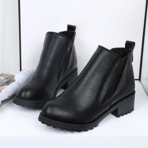 Botas Mujer,Ouneed ® Las botas de cuero de cuero de invierno de las mujeres elegantes guardan los zapatos calientes Negro