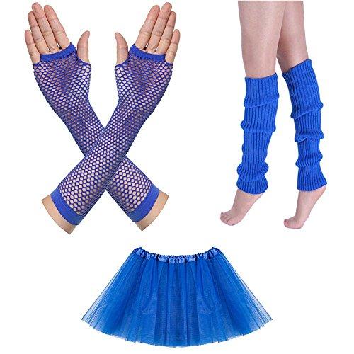 Neon Fancy Dress Outfits (Song 80s Women's Outfit Neon Earrings Leg Warmers Gloves Fancy Dress Accessories Set)