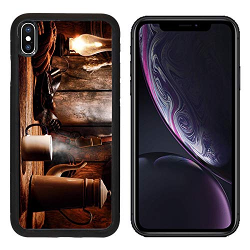 Liili Premium Apple iPhone XR Aluminum Backplate Bumper Snap Case Image ID: 18583716 American West Legend Cup of hot Steamy Coffee and Brewing Pot on an Old Wood Table with