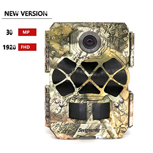 Scroll Latch - Bestguarder Trail Camera, 30MP 1920P HD Waterproof Wildlife Hunting Scouting Game Camera with 140°Detecting Range Motion Activated Night Vision 2.0