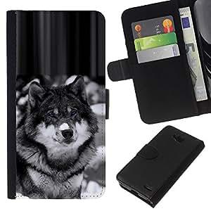 Stuss Case / Funda Carcasa PU de Cuero - Hermosa Majestic Lobo Perro Wolfdog - LG OPTIMUS L90