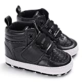 Sabe Baby Girls Boys Soft Leather Sole Booties First Prams Crib Shoes Toddler Slip-on Sneaker (6-12 Mo, Ab-Black)