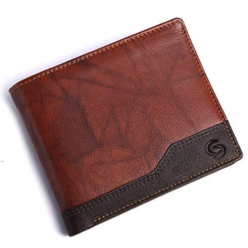 GETOREE Teak Men's Wallet Leather Purse Leather Wallet for Men's & RFID Blocking Genuine Branded Leather Wallet for Men's (Tan)