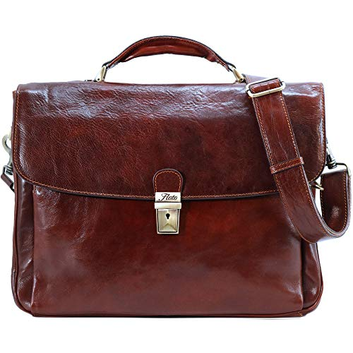 Firenze Laptop Leather Briefcase in Vecchio Brown