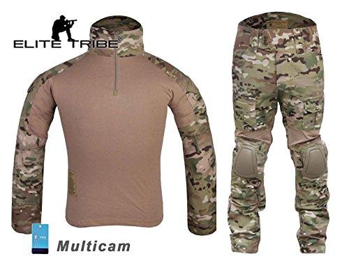 (Men Military Army Tactical Series Airsoft Paintball Hunting Swat Uniform Combat Gen2 Multicam Shirt & Pants & Knee Pads (M))