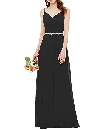 d492cc237f33 Lily Wedding Womens Long Sleeveless Chiffon Bridesmaid Dress Aline Beaded Prom  Evening Formal Dress Size 2