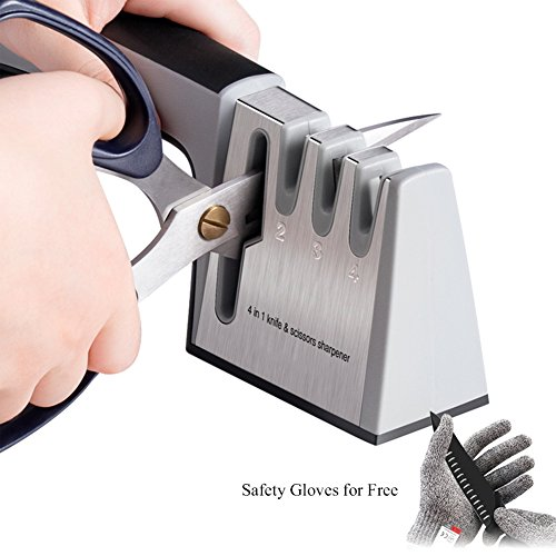 Julitech Kitchen Knife Sharpener 3-Stage Knife Scissors Shar