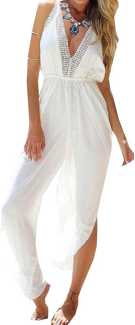 Mfasica Women Chiffon Bohemian Style Solid Deep V Neck Jumpsuits