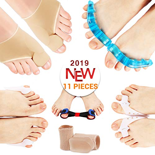 - PediGoo Bunion Corrector Pain Relief Deluxe Kit - Fast Bunion Sleeves Pad with Gel, Pedicure Toe Separators Spacers, Exercise Toe Strap Straightener - 11 Pieces - One Size Fits All