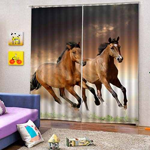 (KRWHTS Decor Room Darkening Thermal Insulated Blackout Curtains,Standing Horse 3D Window Curtains Drapes for Living Room Bedroom 2 Panels)