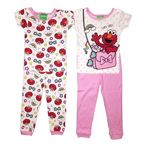 Sesame Street Elmo Little Girls Toddler Cotton Pajama Set (3T)